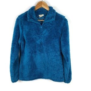 Ascend Fuzzy Blue Embroidered Quarter Zip pullover